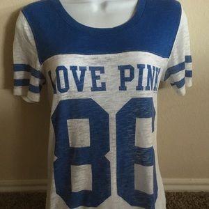 VS PINK Blue & White 86 V-Neck